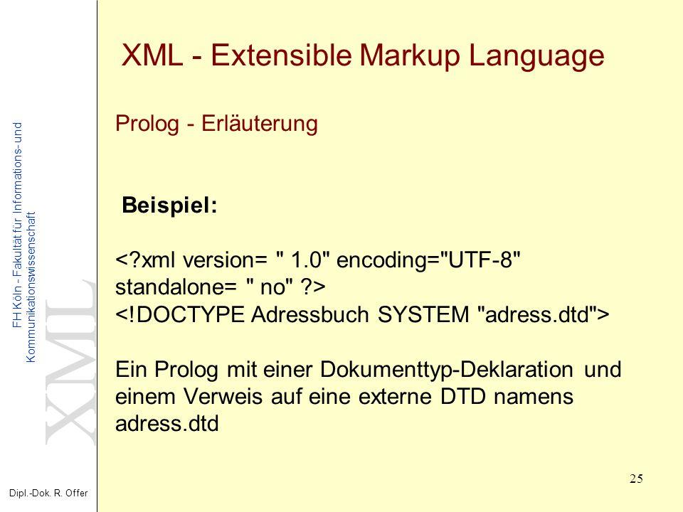 XML Dipl.-Dok. R. Offer FH Köln - Fakultät für Informations- und Kommunikationswissenschaft 25 XML - Extensible Markup Language Prolog - Erläuterung B