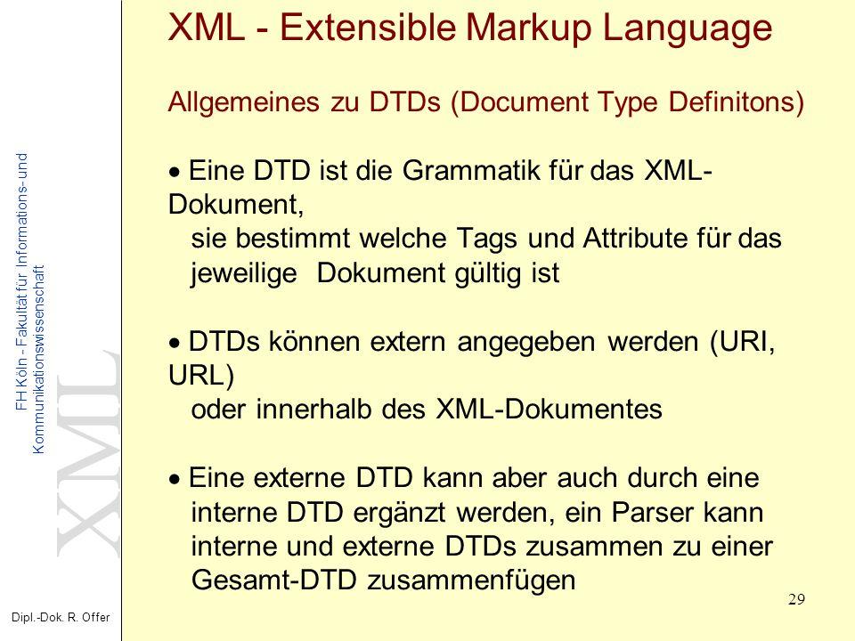 XML Dipl.-Dok. R. Offer FH Köln - Fakultät für Informations- und Kommunikationswissenschaft 29 XML - Extensible Markup Language Allgemeines zu DTDs (D