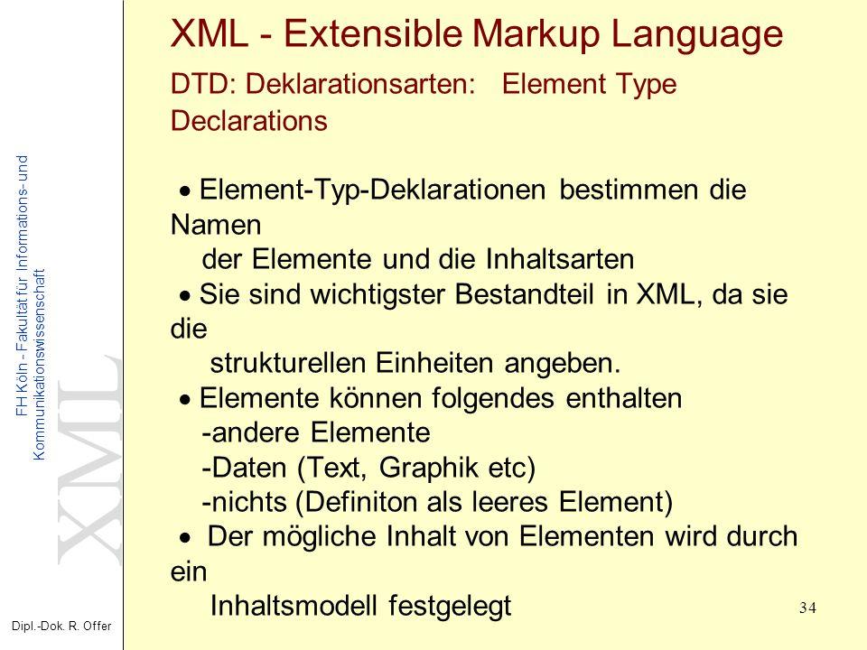 XML Dipl.-Dok. R. Offer FH Köln - Fakultät für Informations- und Kommunikationswissenschaft 34 XML - Extensible Markup Language DTD: Deklarationsarten