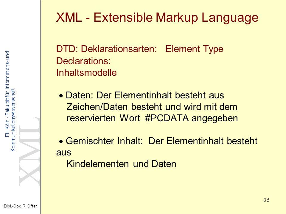 XML Dipl.-Dok. R. Offer FH Köln - Fakultät für Informations- und Kommunikationswissenschaft 36 XML - Extensible Markup Language DTD: Deklarationsarten