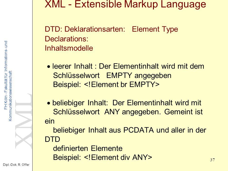 XML Dipl.-Dok. R. Offer FH Köln - Fakultät für Informations- und Kommunikationswissenschaft 37 XML - Extensible Markup Language DTD: Deklarationsarten