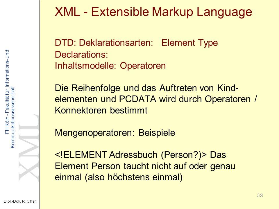 XML Dipl.-Dok. R. Offer FH Köln - Fakultät für Informations- und Kommunikationswissenschaft 38 XML - Extensible Markup Language DTD: Deklarationsarten