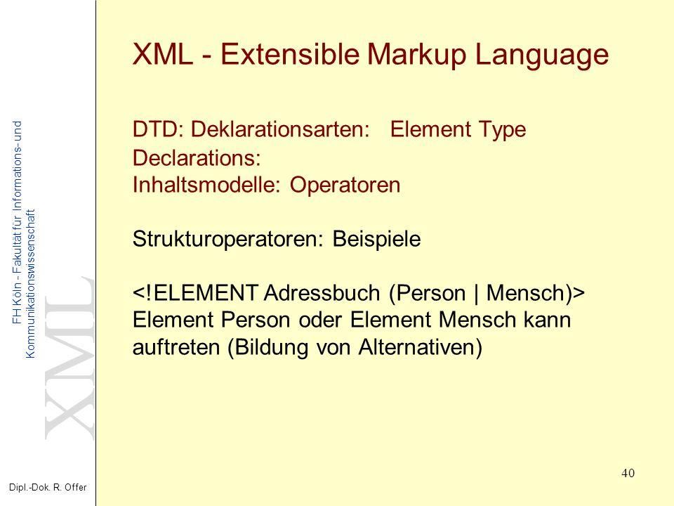 XML Dipl.-Dok. R. Offer FH Köln - Fakultät für Informations- und Kommunikationswissenschaft 40 XML - Extensible Markup Language DTD: Deklarationsarten