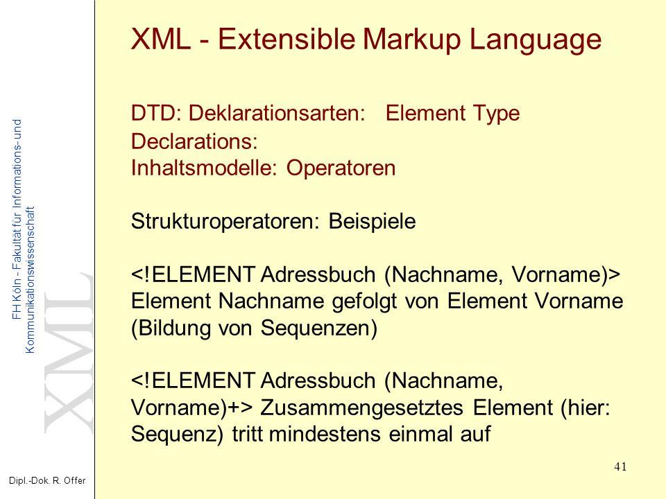 XML Dipl.-Dok. R. Offer FH Köln - Fakultät für Informations- und Kommunikationswissenschaft 41 XML - Extensible Markup Language DTD: Deklarationsarten