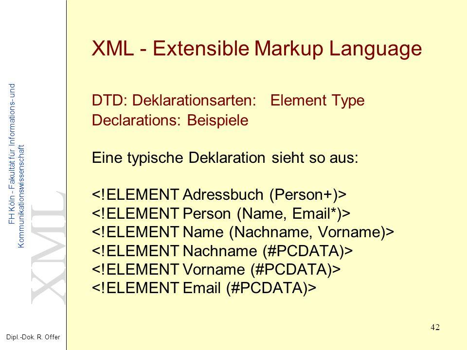 XML Dipl.-Dok. R. Offer FH Köln - Fakultät für Informations- und Kommunikationswissenschaft 42 XML - Extensible Markup Language DTD: Deklarationsarten