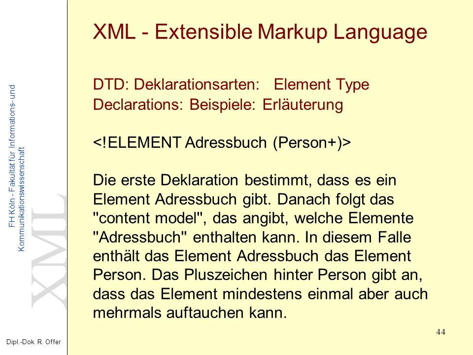 XML Dipl.-Dok. R. Offer FH Köln - Fakultät für Informations- und Kommunikationswissenschaft 44 XML - Extensible Markup Language DTD: Deklarationsarten