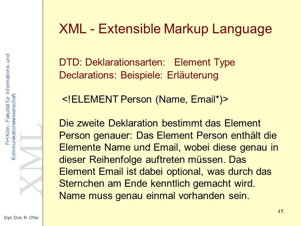 XML Dipl.-Dok. R. Offer FH Köln - Fakultät für Informations- und Kommunikationswissenschaft 45 XML - Extensible Markup Language DTD: Deklarationsarten