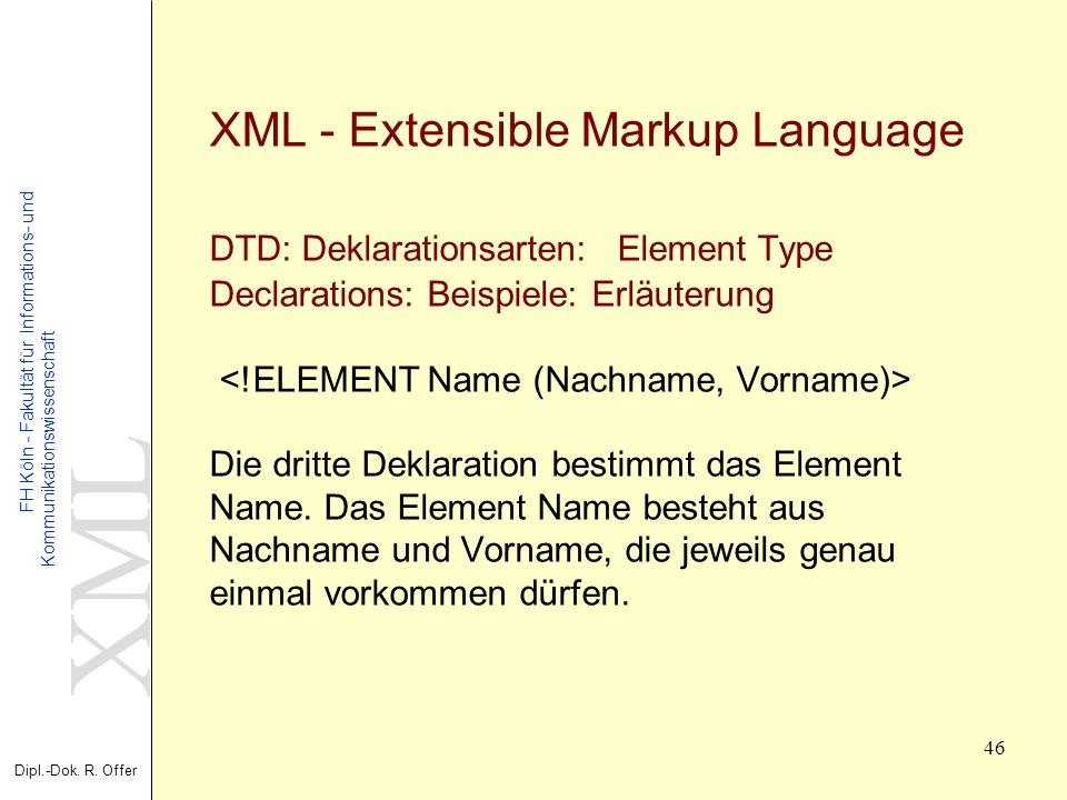 XML Dipl.-Dok. R. Offer FH Köln - Fakultät für Informations- und Kommunikationswissenschaft 46 XML - Extensible Markup Language DTD: Deklarationsarten