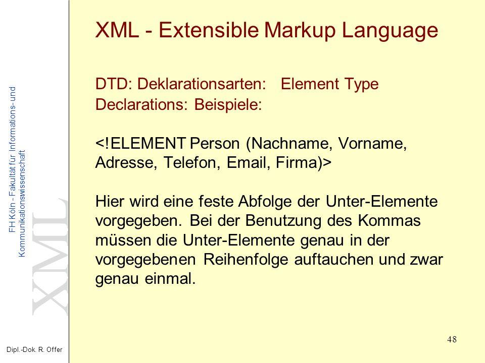 XML Dipl.-Dok. R. Offer FH Köln - Fakultät für Informations- und Kommunikationswissenschaft 48 XML - Extensible Markup Language DTD: Deklarationsarten