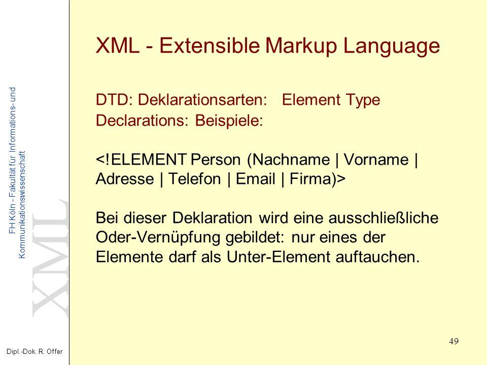 XML Dipl.-Dok. R. Offer FH Köln - Fakultät für Informations- und Kommunikationswissenschaft 49 XML - Extensible Markup Language DTD: Deklarationsarten