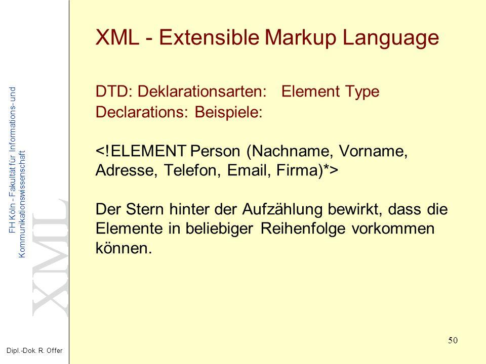 XML Dipl.-Dok. R. Offer FH Köln - Fakultät für Informations- und Kommunikationswissenschaft 50 XML - Extensible Markup Language DTD: Deklarationsarten