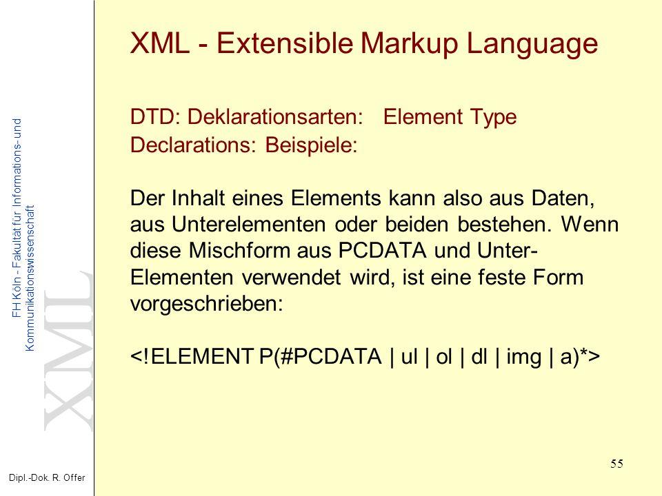 XML Dipl.-Dok. R. Offer FH Köln - Fakultät für Informations- und Kommunikationswissenschaft 55 XML - Extensible Markup Language DTD: Deklarationsarten