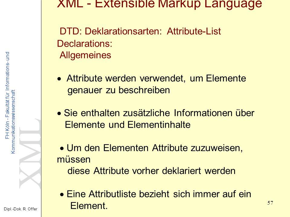 XML Dipl.-Dok. R. Offer FH Köln - Fakultät für Informations- und Kommunikationswissenschaft 57 XML - Extensible Markup Language DTD: Deklarationsarten