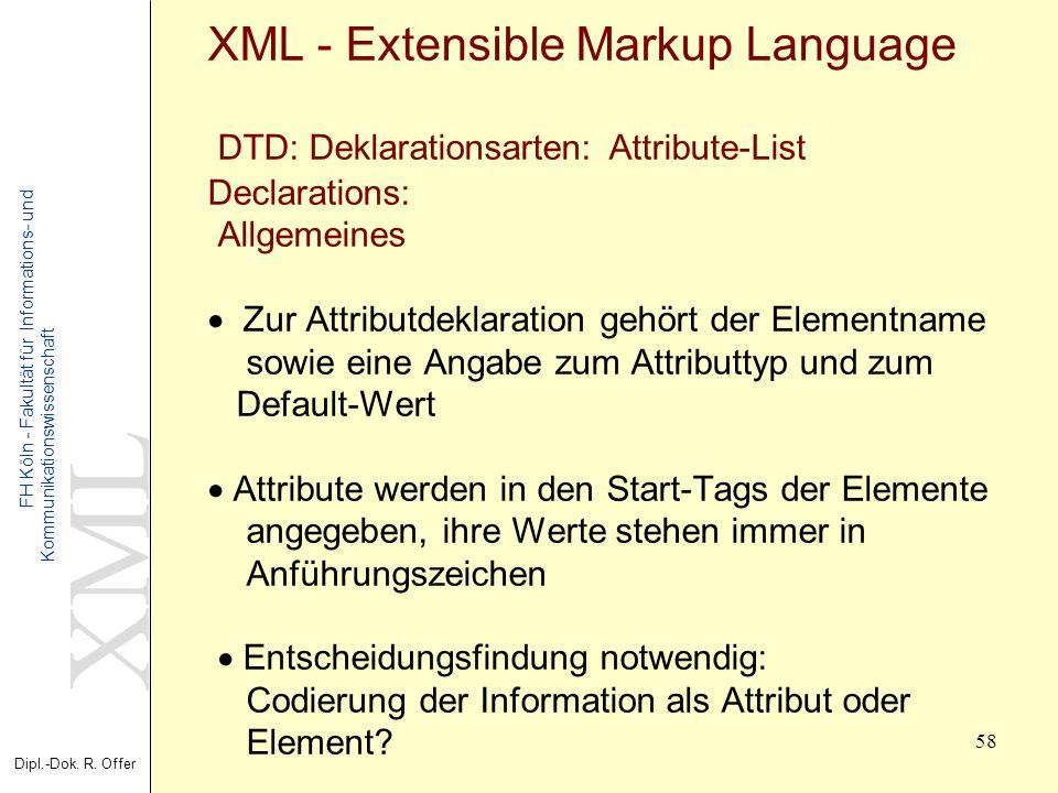 XML Dipl.-Dok. R. Offer FH Köln - Fakultät für Informations- und Kommunikationswissenschaft 58 XML - Extensible Markup Language DTD: Deklarationsarten
