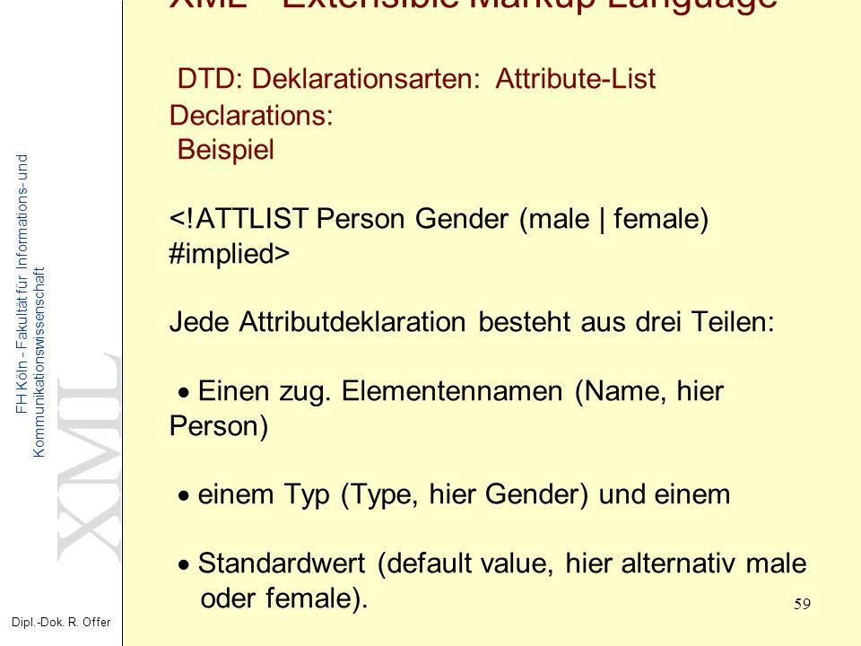 XML Dipl.-Dok. R. Offer FH Köln - Fakultät für Informations- und Kommunikationswissenschaft 59 XML - Extensible Markup Language DTD: Deklarationsarten