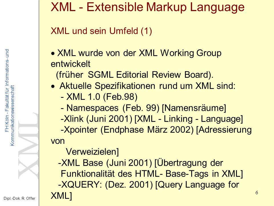 XML Dipl.-Dok. R. Offer FH Köln - Fakultät für Informations- und Kommunikationswissenschaft 6 XML - Extensible Markup Language XML und sein Umfeld (1)