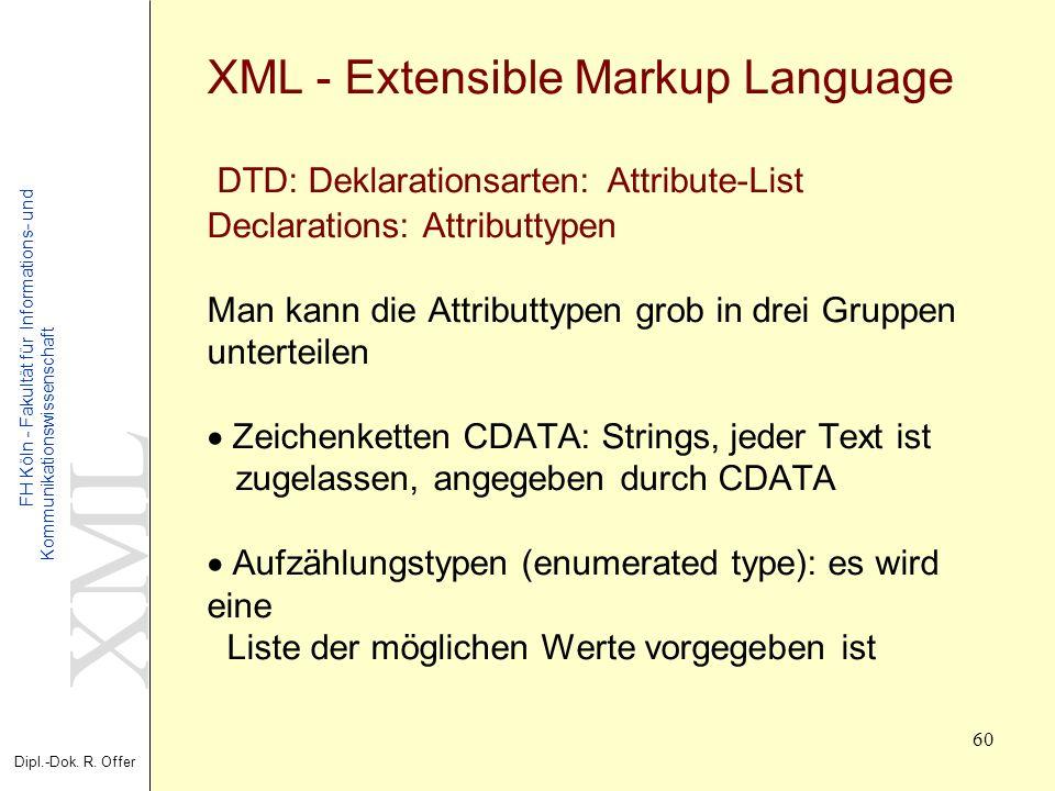 XML Dipl.-Dok. R. Offer FH Köln - Fakultät für Informations- und Kommunikationswissenschaft 60 XML - Extensible Markup Language DTD: Deklarationsarten