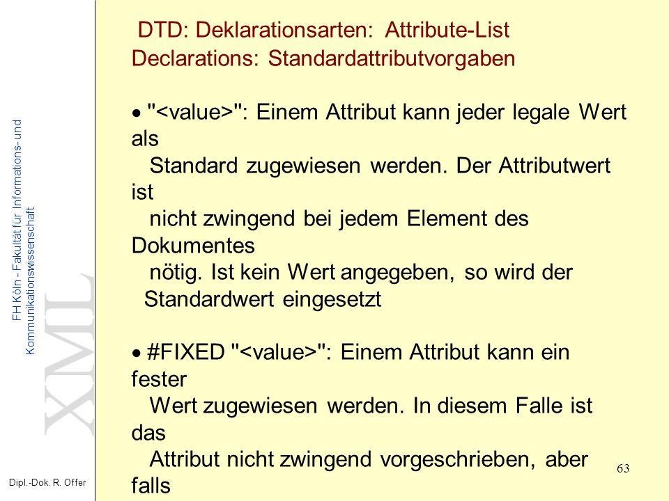 XML Dipl.-Dok. R. Offer FH Köln - Fakultät für Informations- und Kommunikationswissenschaft 63 XML - Extensible Markup Language DTD: Deklarationsarten
