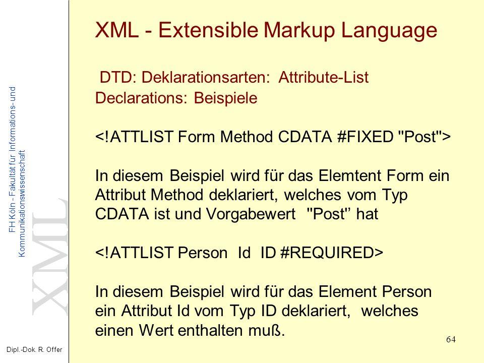 XML Dipl.-Dok. R. Offer FH Köln - Fakultät für Informations- und Kommunikationswissenschaft 64 XML - Extensible Markup Language DTD: Deklarationsarten