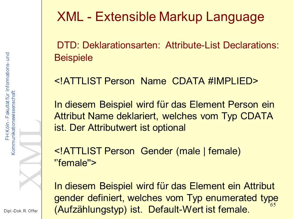 XML Dipl.-Dok. R. Offer FH Köln - Fakultät für Informations- und Kommunikationswissenschaft 65 XML - Extensible Markup Language DTD: Deklarationsarten