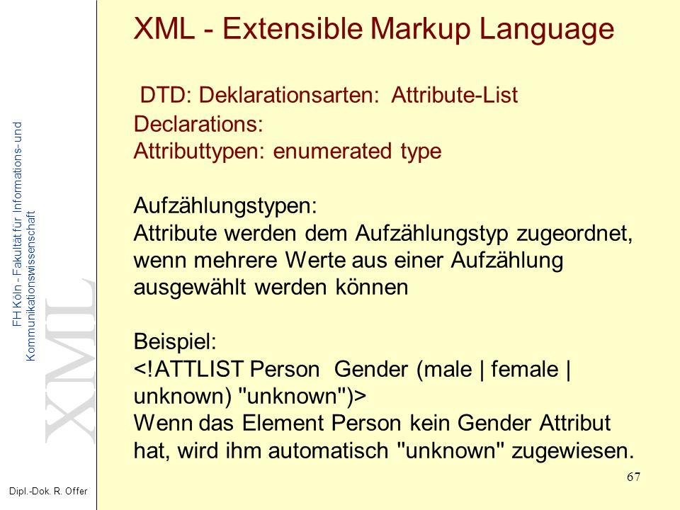 XML Dipl.-Dok. R. Offer FH Köln - Fakultät für Informations- und Kommunikationswissenschaft 67 XML - Extensible Markup Language DTD: Deklarationsarten