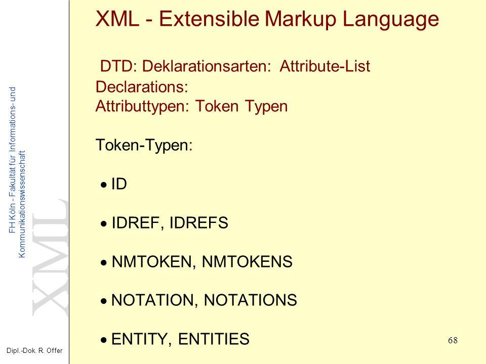 XML Dipl.-Dok. R. Offer FH Köln - Fakultät für Informations- und Kommunikationswissenschaft 68 XML - Extensible Markup Language DTD: Deklarationsarten