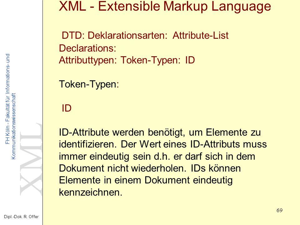 XML Dipl.-Dok. R. Offer FH Köln - Fakultät für Informations- und Kommunikationswissenschaft 69 XML - Extensible Markup Language DTD: Deklarationsarten