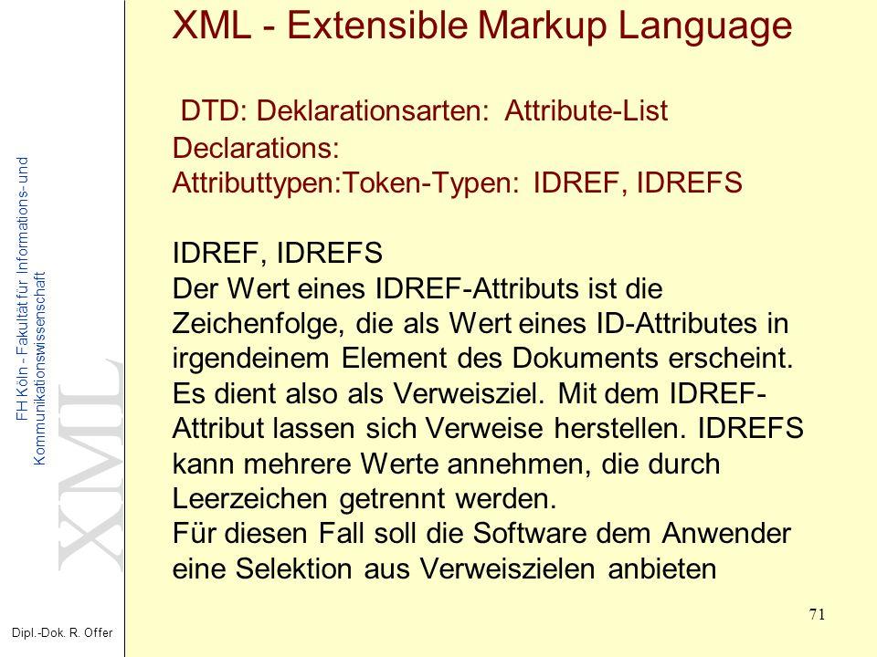 XML Dipl.-Dok. R. Offer FH Köln - Fakultät für Informations- und Kommunikationswissenschaft 71 XML - Extensible Markup Language DTD: Deklarationsarten