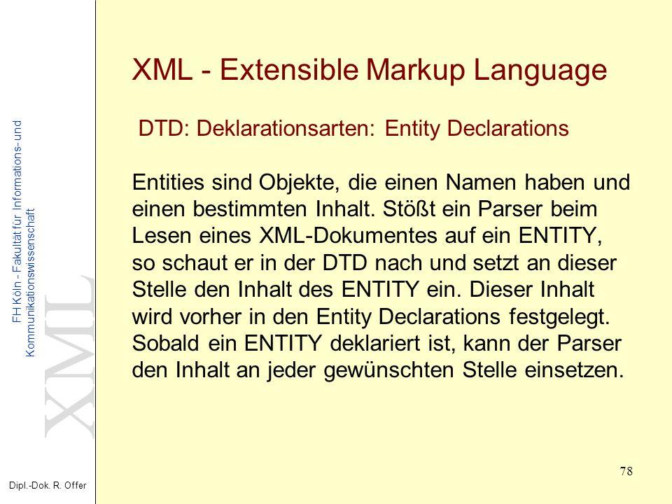 XML Dipl.-Dok. R. Offer FH Köln - Fakultät für Informations- und Kommunikationswissenschaft 78 XML - Extensible Markup Language DTD: Deklarationsarten