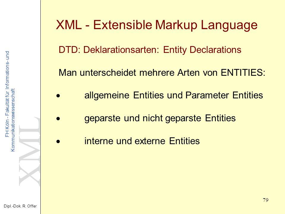 XML Dipl.-Dok. R. Offer FH Köln - Fakultät für Informations- und Kommunikationswissenschaft 79 XML - Extensible Markup Language DTD: Deklarationsarten