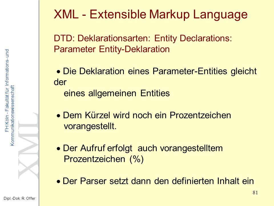 XML Dipl.-Dok. R. Offer FH Köln - Fakultät für Informations- und Kommunikationswissenschaft 81 XML - Extensible Markup Language DTD: Deklarationsarten