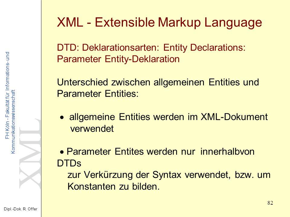 XML Dipl.-Dok. R. Offer FH Köln - Fakultät für Informations- und Kommunikationswissenschaft 82 XML - Extensible Markup Language DTD: Deklarationsarten