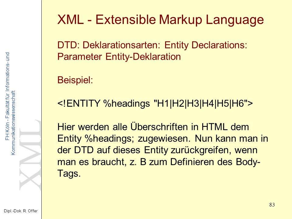 XML Dipl.-Dok. R. Offer FH Köln - Fakultät für Informations- und Kommunikationswissenschaft 83 XML - Extensible Markup Language DTD: Deklarationsarten