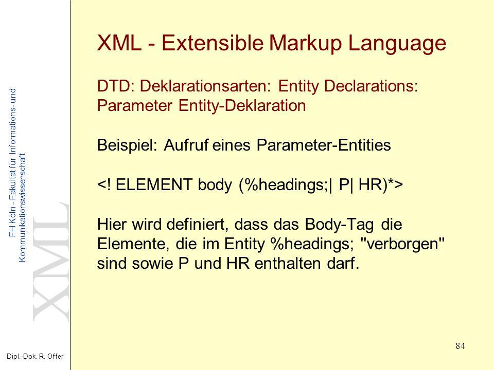 XML Dipl.-Dok. R. Offer FH Köln - Fakultät für Informations- und Kommunikationswissenschaft 84 XML - Extensible Markup Language DTD: Deklarationsarten