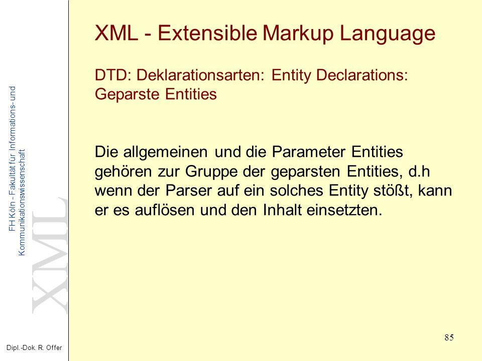 XML Dipl.-Dok. R. Offer FH Köln - Fakultät für Informations- und Kommunikationswissenschaft 85 XML - Extensible Markup Language DTD: Deklarationsarten