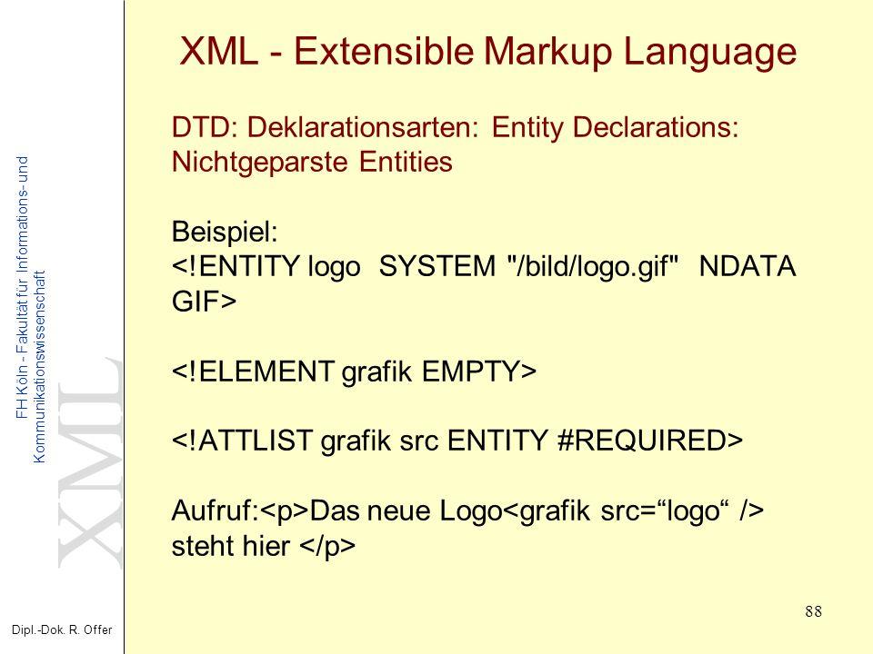 XML Dipl.-Dok. R. Offer FH Köln - Fakultät für Informations- und Kommunikationswissenschaft 88 XML - Extensible Markup Language DTD: Deklarationsarten