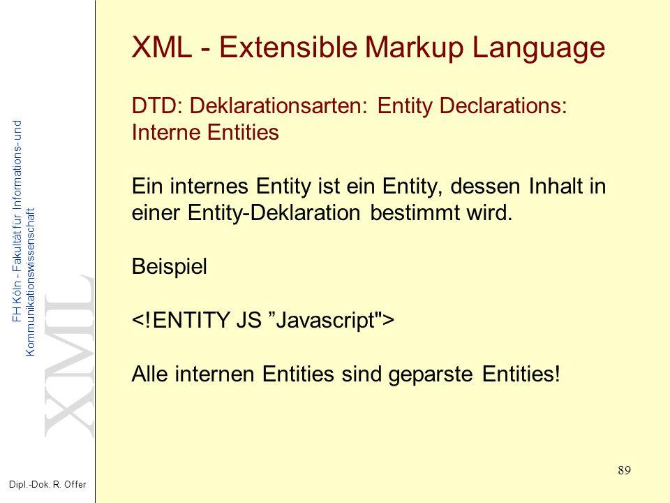 XML Dipl.-Dok. R. Offer FH Köln - Fakultät für Informations- und Kommunikationswissenschaft 89 XML - Extensible Markup Language DTD: Deklarationsarten