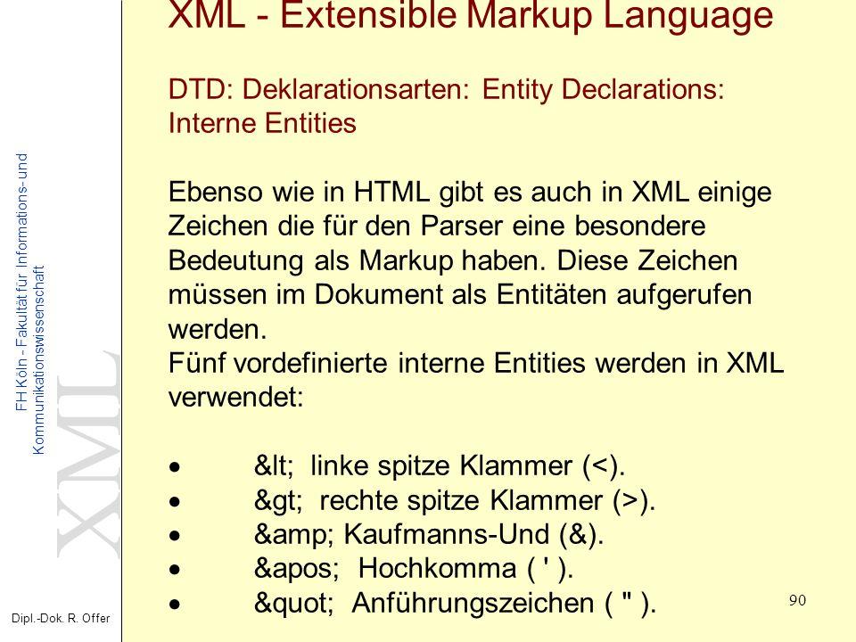 XML Dipl.-Dok. R. Offer FH Köln - Fakultät für Informations- und Kommunikationswissenschaft 90 XML - Extensible Markup Language DTD: Deklarationsarten