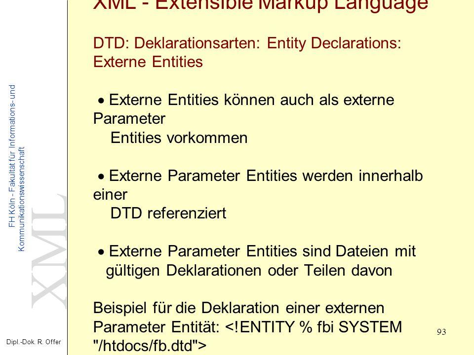 XML Dipl.-Dok. R. Offer FH Köln - Fakultät für Informations- und Kommunikationswissenschaft 93 XML - Extensible Markup Language DTD: Deklarationsarten