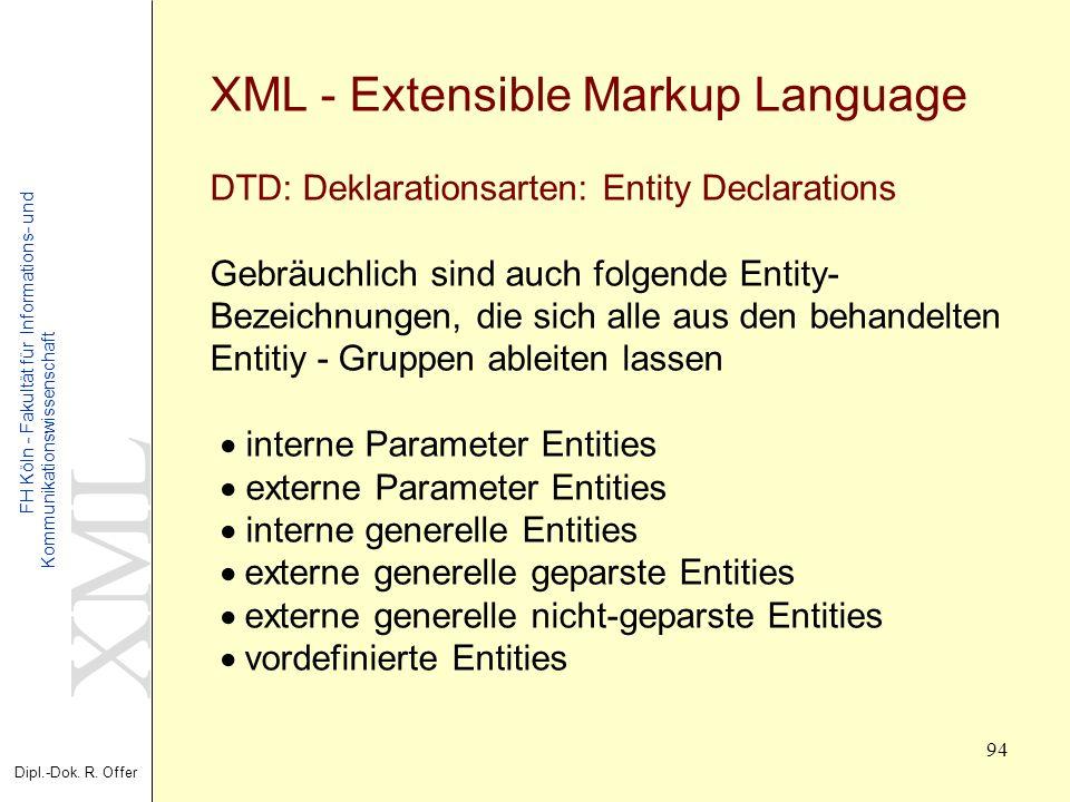 XML Dipl.-Dok. R. Offer FH Köln - Fakultät für Informations- und Kommunikationswissenschaft 94 XML - Extensible Markup Language DTD: Deklarationsarten