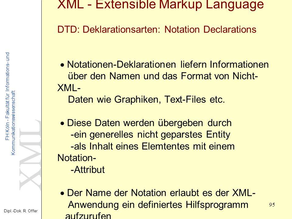 XML Dipl.-Dok. R. Offer FH Köln - Fakultät für Informations- und Kommunikationswissenschaft 95 XML - Extensible Markup Language DTD: Deklarationsarten