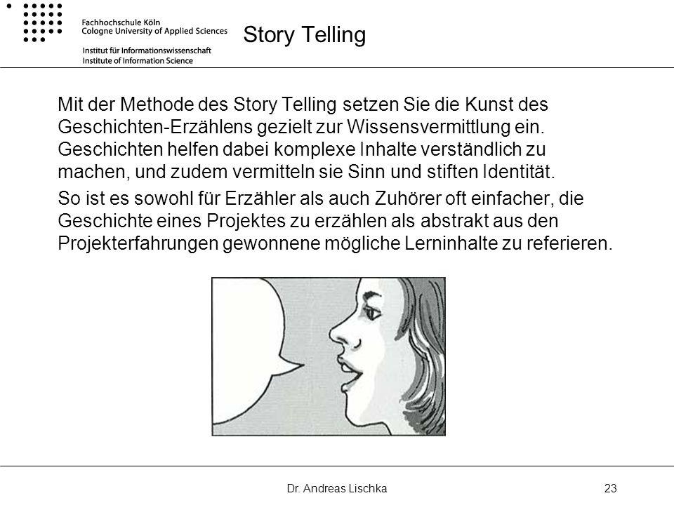 Dr. Andreas Lischka23 Story Telling Mit der Methode des Story Telling setzen Sie die Kunst des Geschichten-Erzählens gezielt zur Wissensvermittlung ei