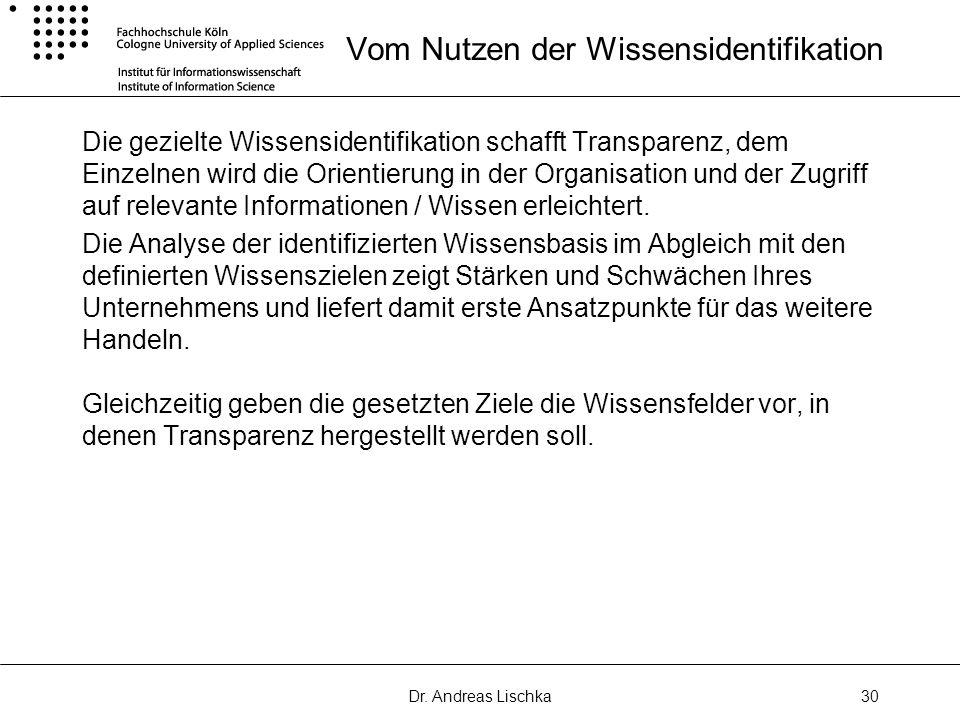 Dr. Andreas Lischka30 Vom Nutzen der Wissensidentifikation Die gezielte Wissensidentifikation schafft Transparenz, dem Einzelnen wird die Orientierung