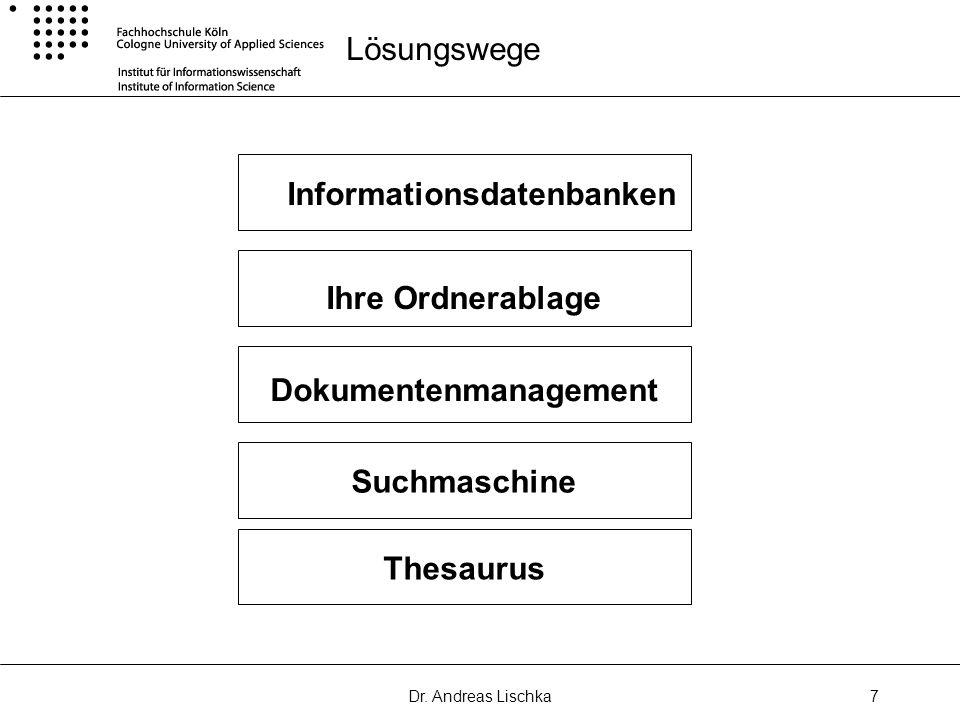 Dr. Andreas Lischka7 Lösungswege Informationsdatenbanken Ihre Ordnerablage Dokumentenmanagement Suchmaschine Thesaurus