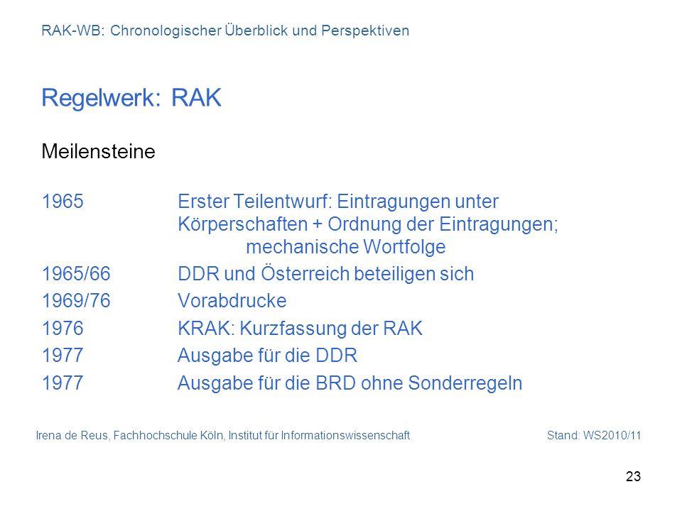 Irena de Reus, Fachhochschule Köln, Institut für Informationswissenschaft Stand: WS2010/11 23 RAK-WB: Chronologischer Überblick und Perspektiven Regel