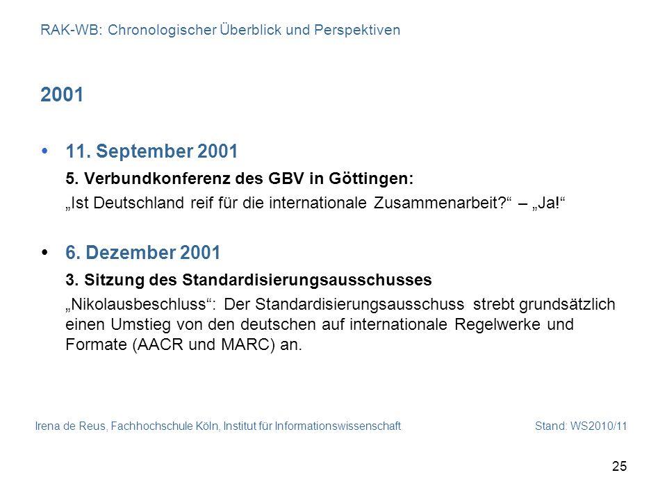 Irena de Reus, Fachhochschule Köln, Institut für Informationswissenschaft Stand: WS2010/11 25 RAK-WB: Chronologischer Überblick und Perspektiven 2001