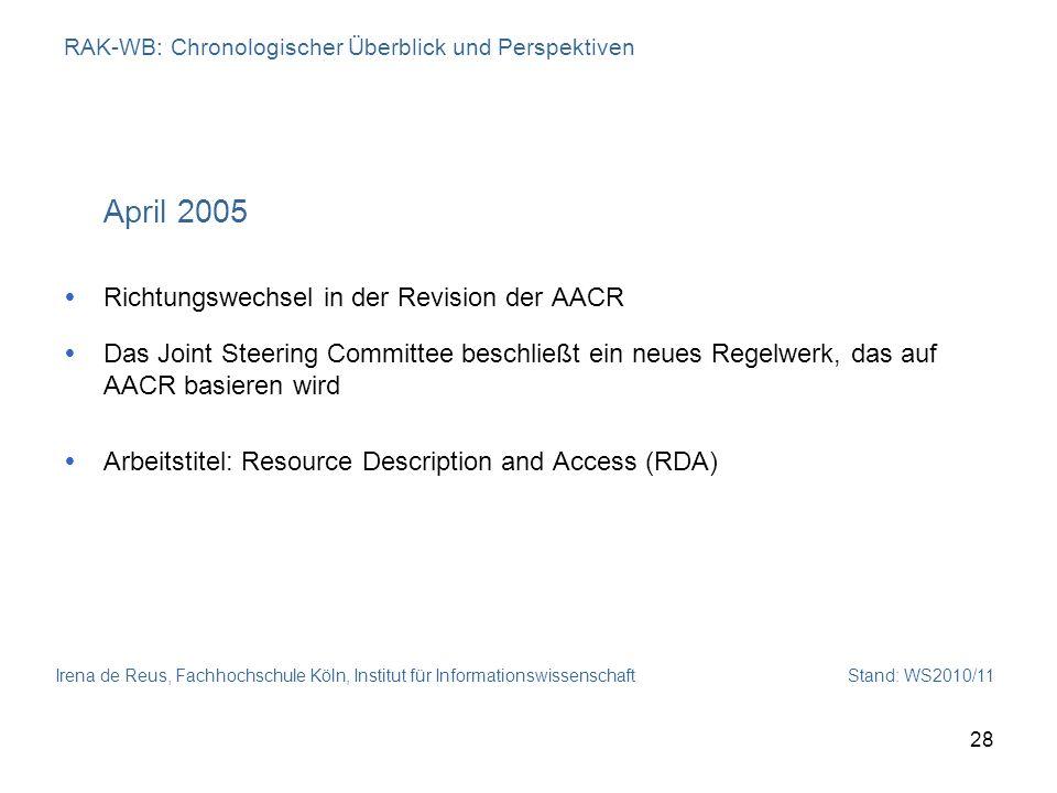 Irena de Reus, Fachhochschule Köln, Institut für Informationswissenschaft Stand: WS2010/11 28 RAK-WB: Chronologischer Überblick und Perspektiven April
