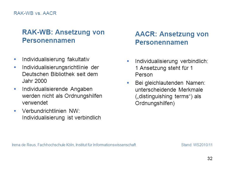 Irena de Reus, Fachhochschule Köln, Institut für Informationswissenschaft Stand: WS2010/11 32 RAK-WB vs. AACR RAK-WB: Ansetzung von Personennamen Indi