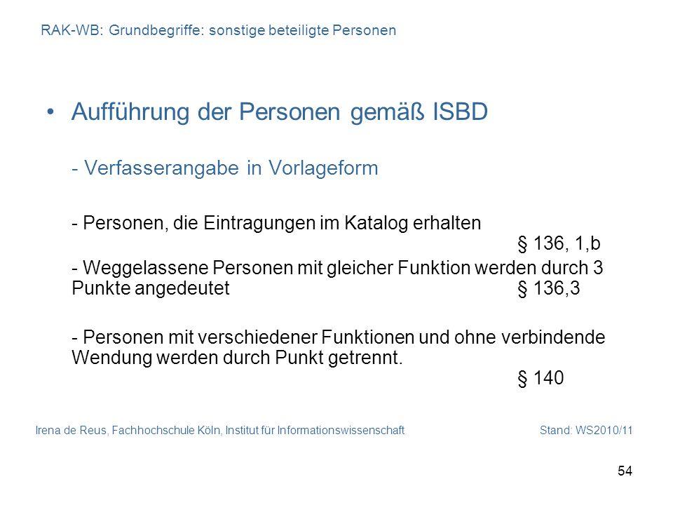 Irena de Reus, Fachhochschule Köln, Institut für Informationswissenschaft Stand: WS2010/11 54 RAK-WB: Grundbegriffe: sonstige beteiligte Personen Auff