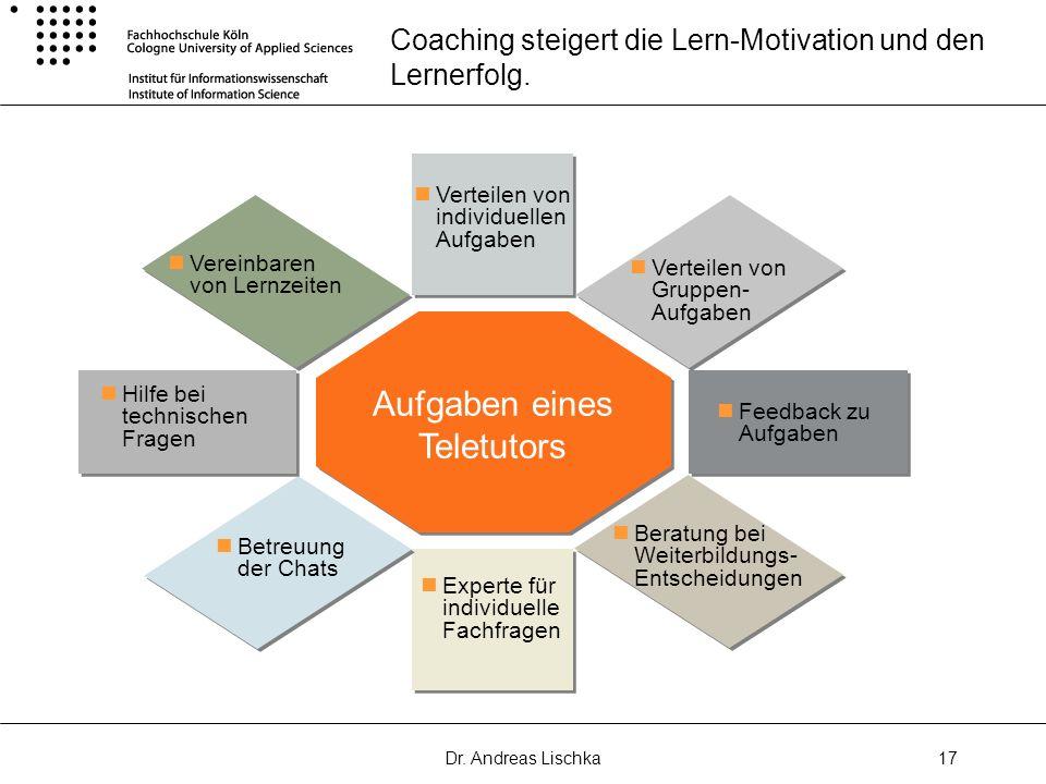 Dr. Andreas Lischka17 Coaching steigert die Lern-Motivation und den Lernerfolg. Aufgaben eines Teletutors Feedback zu Aufgaben Vereinbaren von Lernzei